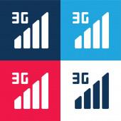 3g blaues und rotes Vier-Farben-Minimalsymbolset
