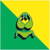 Bikini Grünes und gelbes modernes 3D-Vektor-Symbol-Logo