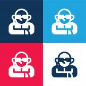 Bodyguard modrá a červená čtyři barvy minimální ikona nastavena