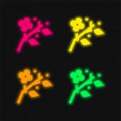Blühen vier Farben leuchtenden Neon-Vektor-Symbol