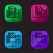 Účetnictví čtyři barvy skla ikona tlačítko