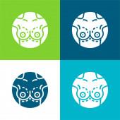 Prsní implantát Flat čtyři barvy minimální ikona nastavena
