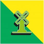 Velký větrný mlýn Zelené a žluté moderní 3D vektorové logo ikony