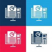 Účetnictví modrá a červená čtyři barvy minimální ikona nastavena