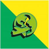 Repülőgép Föld körül Zöld és sárga modern 3D vektor ikon logó