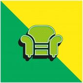 Křeslo Zelené a žluté moderní 3D vektorové logo