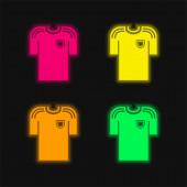 Schwarzes T-Shirt eines Fußballers vier Farben leuchtenden Neon-Vektor-Symbol