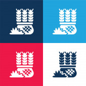 Barley blue and red four color minimal icon set