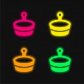 Vana čtyři barvy zářící neonový vektor ikona