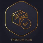 Jóváhagyás arany vonal prémium logó vagy ikon