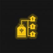 Bio Energy gelb leuchtendes Neon-Symbol