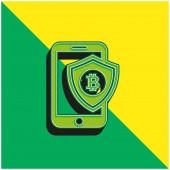 Bitcoin Mobile Phone Secure Shield Zöld és sárga modern 3D vektor ikon logó