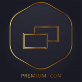 2 Squares golden line premium logo or icon