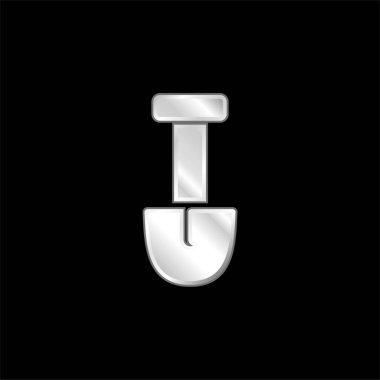 Big Shovel silver plated metallic icon stock vector