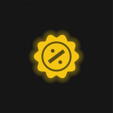 Badge yellow glowing neon icon stock vector