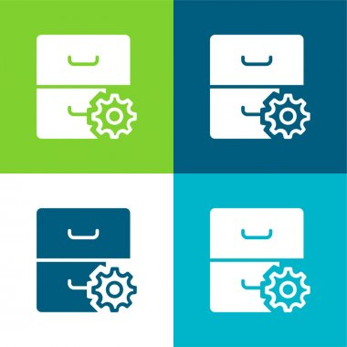Archive Flat four color minimal icon set stock vector