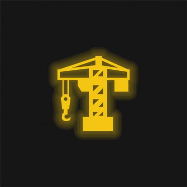 Architecture Crane Tool yellow glowing neon icon stock vector