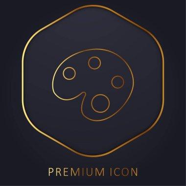 Artist Paint Palette golden line premium logo or icon stock vector