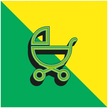 Baby Stroller Outline Of Side View Green and yellow modern 3d vector icon logo