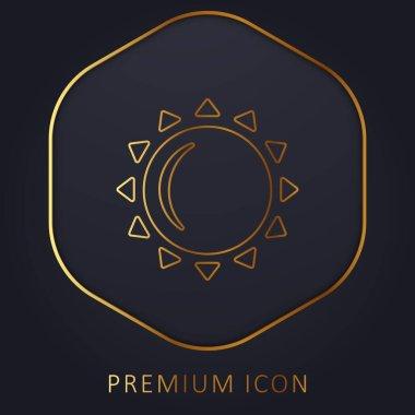 Big Sun golden line premium logo or icon stock vector