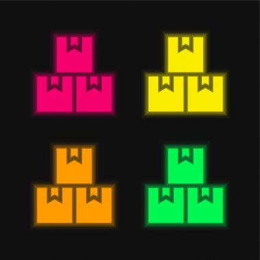 Boxes four color glowing neon vector icon stock vector