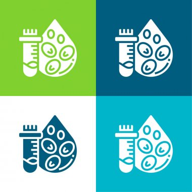 Blood Count Test Flat four color minimal icon set stock vector