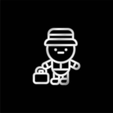 Bell Boy silver plated metallic icon stock vector
