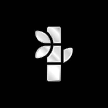 Bamboo silver plated metallic icon stock vector