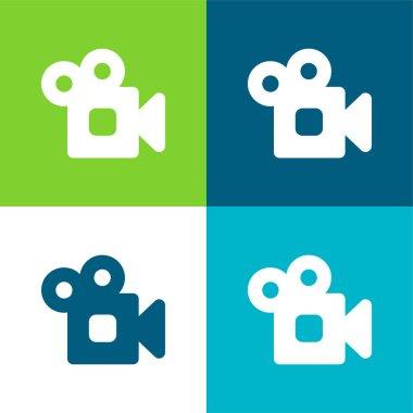 Analogic Video Camera Flat four color minimal icon set stock vector