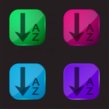 Alphabetical Order four color glass button icon