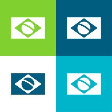 Brazil Flag Flat four color minimal icon set stock vector