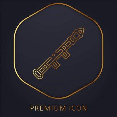 Bazooka golden line premium logo or icon stock vector