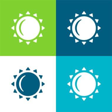 Big Sun Flat four color minimal icon set stock vector