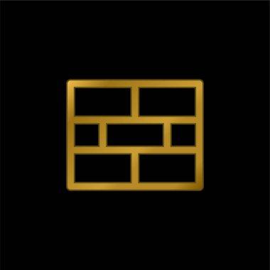 Brick Wall gold plated metalic icon or logo vector stock vector