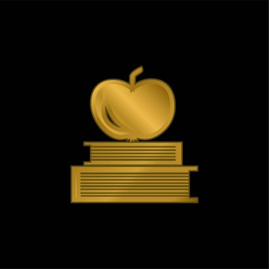 Books And Apple On Top gold plated metalic icon or logo vector stock vector