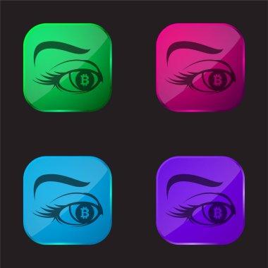 Bitcoin Sign In Eye Iris four color glass button icon stock vector
