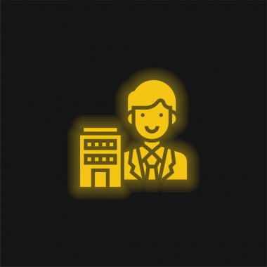 Agent yellow glowing neon icon stock vector