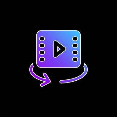 360 Video blue gradient vector icon stock vector