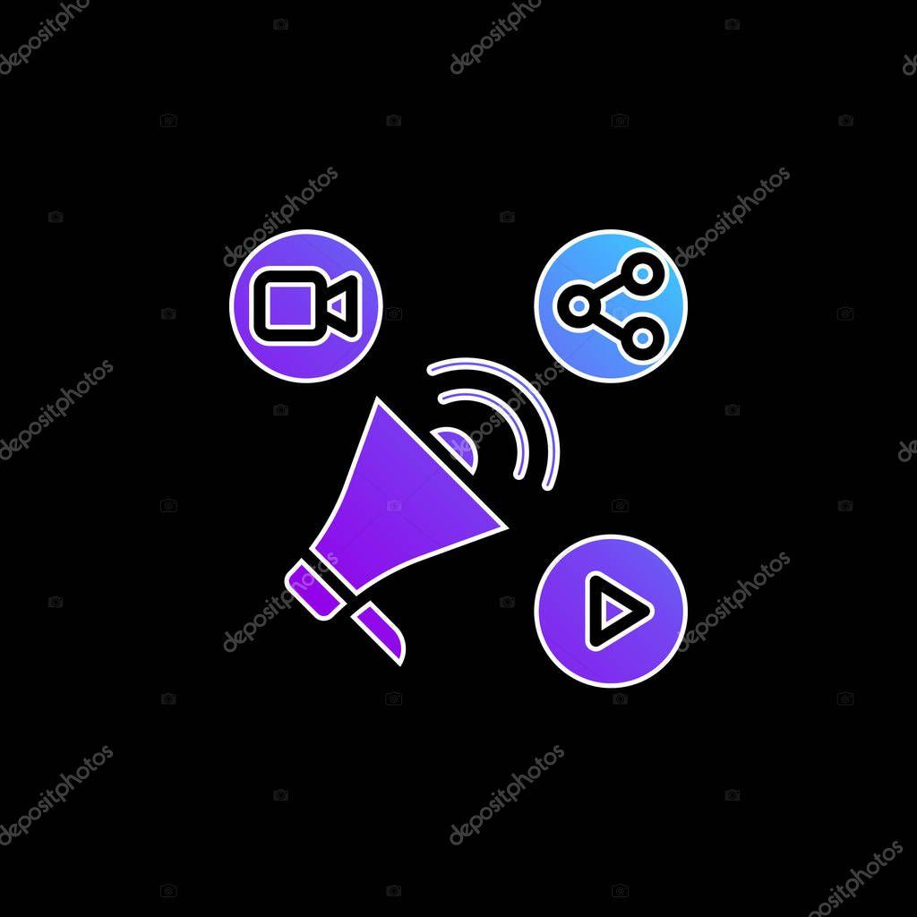 Advertising blue gradient vector icon stock vector