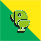 Bird Green a žluté moderní 3D vektorové logo