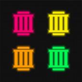 Vzduchový filtr čtyři barvy zářící neonový vektor ikona