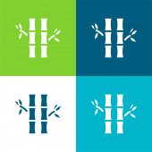 Bambusz Lapos négy szín minimális ikon készlet