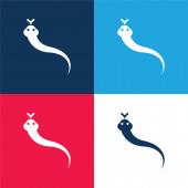 Állatkék és piros négy szín minimális ikon készlet