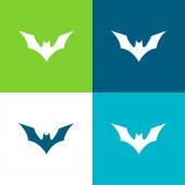 Denevér emelt szárnyakkal Lapos négy szín minimális ikon készlet
