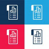 Analýza modrá a červená čtyři barvy minimální ikona nastavena