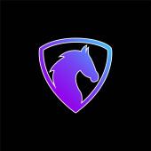 Fekete ló fej egy pajzs kék gradiens vektor ikon
