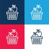 Jablka modrá a červená čtyři barvy minimální sada ikon