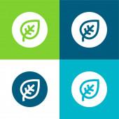 Biologische flache vier Farben minimales Symbol-Set