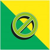 Verbot Grünes und gelbes modernes 3D-Vektorsymbol-Logo