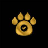 Zvířata Povolená pozlacená metalická ikona nebo vektor loga